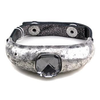 square crystal curved leather Bracelet