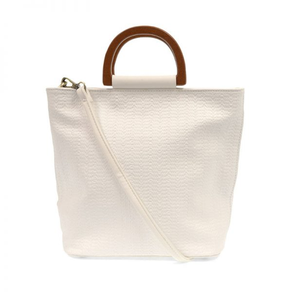 white lily woven wood handle tote