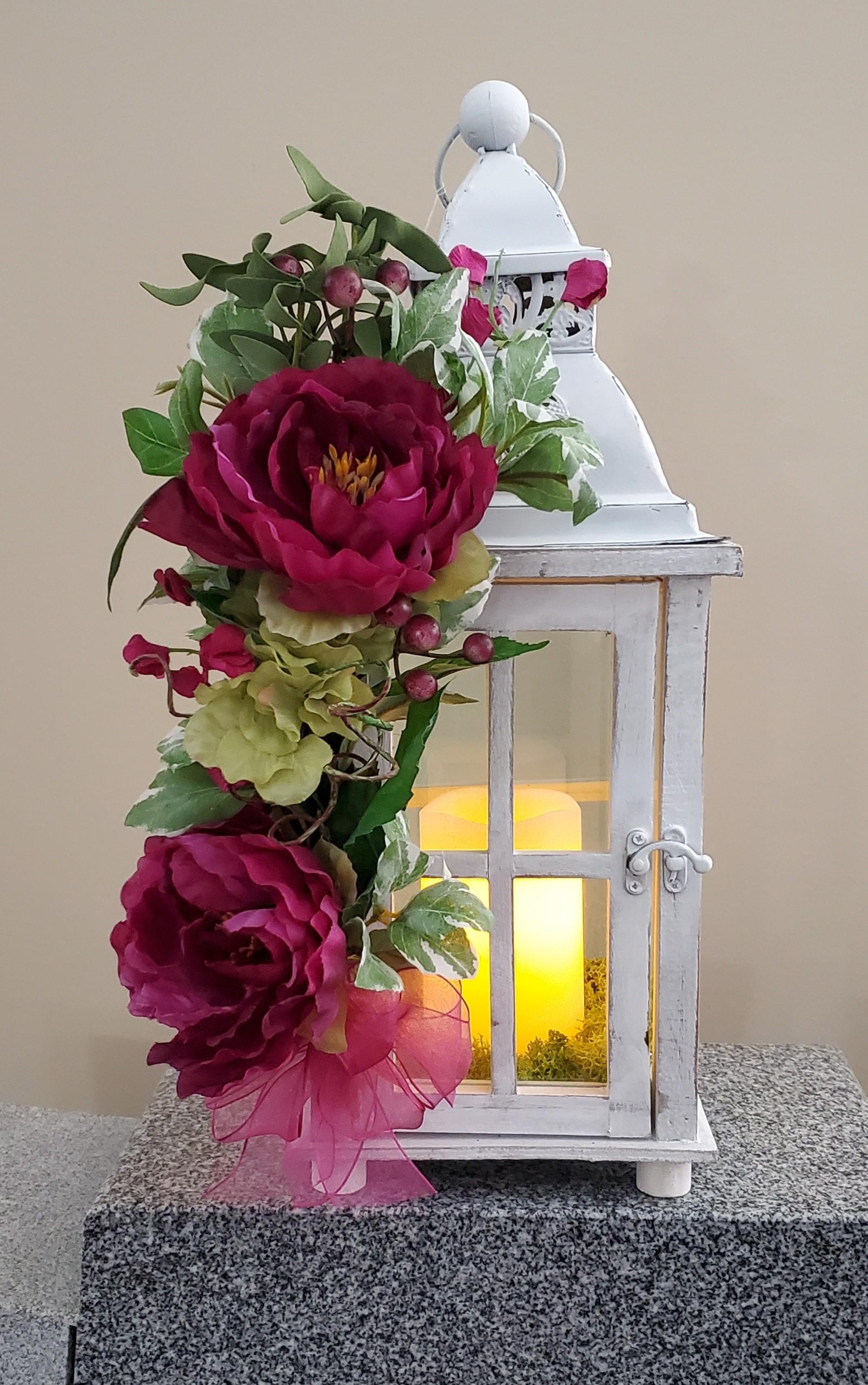 white pink lantern
