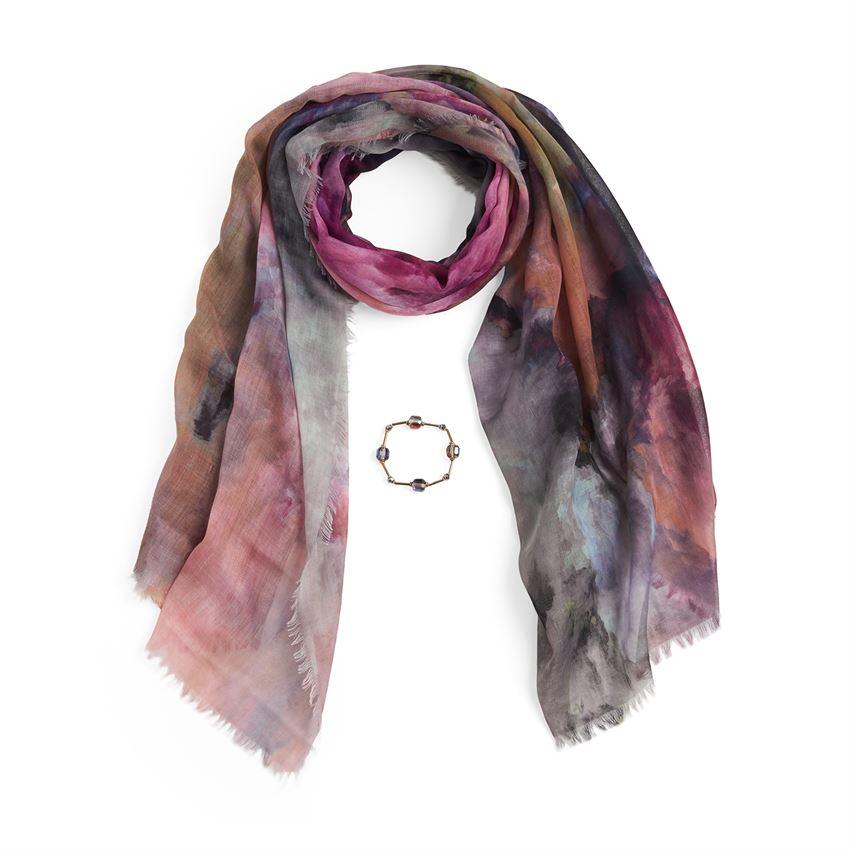 pink scarf and bracelet set